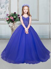 Straps Sleeveless Lace Up Girls Pageant Dresses Royal Blue Organza