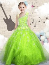 Modern Asymmetric Sleeveless Organza Little Girl Pageant Gowns Beading and Appliques and Hand Made Flower Lace Up