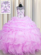Noble See Through Sleeveless Lace Up Floor Length Beading and Ruffles and Pick Ups 15th Birthday Dress