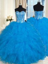 Top Selling Beading and Ruffles Vestidos de Quinceanera Baby Blue Lace Up Sleeveless Floor Length