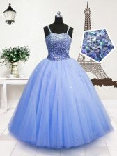 Graceful Light Blue Pageant Gowns For Girls Party and Wedding Party with Beading and Sequins Spaghetti Straps Sleeveless Zipper