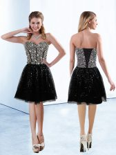 Adorable Sequined Sweetheart Sleeveless Lace Up Sequins Prom Evening Gown in Black