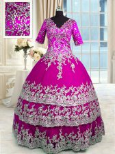 Best Selling Fuchsia Half Sleeves Beading and Appliques and Ruffled Layers Sweet 16 Dress