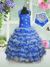 Top Selling Halter Top Blue And White Ball Gowns Beading and Appliques and Ruffled Layers Kids Pageant Dress Lace Up Organza Sleeveless Floor Length