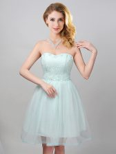 Apple Green Lace Up Sweetheart Lace and Appliques Quinceanera Court of Honor Dress Tulle Sleeveless