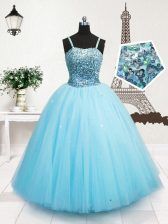 Sequins Spaghetti Straps Sleeveless Zipper Kids Pageant Dress Turquoise Tulle