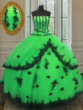 Captivating Green Organza Lace Up 15 Quinceanera Dress Sleeveless Floor Length Beading and Embroidery