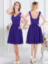 Purple Damas Dress Prom and Party with Lace Scalloped Sleeveless Zipper