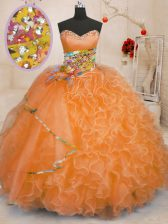 Edgy Organza Sleeveless Floor Length 15 Quinceanera Dress and Beading and Ruffles