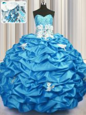 Aqua Blue 15th Birthday Dress Military Ball and Sweet 16 and Quinceanera with Appliques and Sequins and Pick Ups Sweetheart Sleeveless Brush Train Lace Up