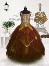 Latest Ball Gowns Child Pageant Dress Brown Straps Tulle Sleeveless Floor Length Lace Up