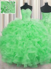 Superior Ball Gowns Organza Sweetheart Sleeveless Beading and Ruffles Floor Length Lace Up Quinceanera Dress