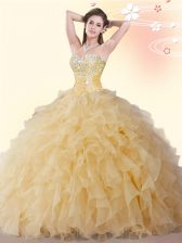 Floor Length Lace Up Quinceanera Gowns Gold for Military Ball and Sweet 16 and Quinceanera with Beading and Ruffles