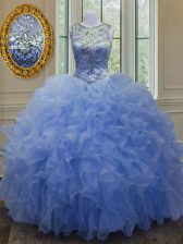 Fancy Ball Gowns Quinceanera Gown Blue Scoop Organza Sleeveless Floor Length Lace Up
