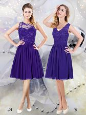 Stylish Scoop See Through Purple Scalloped Zipper Lace and Appliques Quinceanera Dama Dress Sleeveless