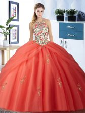 Halter Top Floor Length Lace Up Quinceanera Dresses Orange Red for Military Ball and Sweet 16 and Quinceanera with Embroidery and Pick Ups