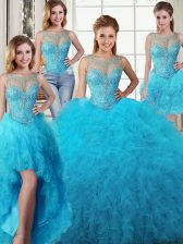 Four Piece Scoop Baby Blue Ball Gowns Beading and Ruffles Quinceanera Dresses Lace Up Tulle Sleeveless Floor Length