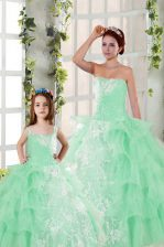 Apple Green Ball Gowns Strapless Sleeveless Organza Floor Length Lace Up Beading and Ruffled Layers and Ruching 15th Birthday Dress