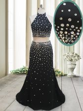 Popular Halter Top Backless Chiffon Sleeveless Floor Length Prom Dress and Beading