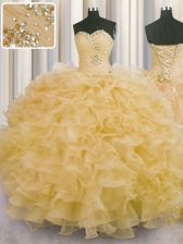 Attractive Gold Sleeveless Floor Length Beading and Ruffles Lace Up Sweet 16 Dress