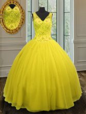 Comfortable Yellow Ball Gowns Tulle V-neck Sleeveless Beading Floor Length Zipper Quinceanera Gown
