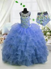 Gorgeous Light Blue Ball Gowns Organza Scoop Sleeveless Beading and Ruffled Layers Floor Length Lace Up Pageant Gowns For Girls