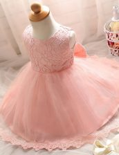 Scoop Sleeveless Toddler Flower Girl Dress Floor Length Lace Baby Pink Tulle