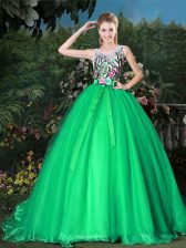 Scoop Green Sleeveless Brush Train Appliques and Belt Quinceanera Dresses