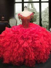 On Sale Floor Length Red Quinceanera Gown Organza Cap Sleeves Beading and Ruffles