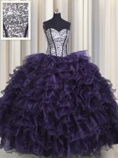 Dramatic Visible Boning Purple Ball Gowns Ruffles and Sequins Quinceanera Dress Lace Up Organza and Sequined Sleeveless Floor Length