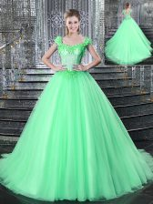 Luxury Straps With Train Ball Gowns Sleeveless Apple Green Sweet 16 Dress Brush Train Lace Up