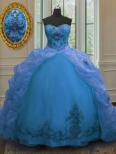 Beautiful Pick Ups Court Train Ball Gowns Quince Ball Gowns Blue Sweetheart Organza Sleeveless With Train Lace Up