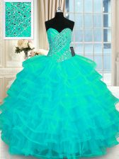 Fantastic Turquoise Ball Gowns Sweetheart Sleeveless Organza Floor Length Lace Up Beading and Ruffled Layers Sweet 16 Dresses