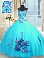 Fashion Sleeveless Tulle Floor Length Lace Up Sweet 16 Dresses in Baby Blue with Beading and Appliques and Embroidery