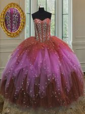 Nice Multi-color Lace Up Vestidos de Quinceanera Beading and Ruffles and Sequins Sleeveless Floor Length