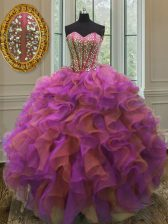 High Class Beading and Ruffles Quinceanera Gown Multi-color Lace Up Sleeveless Floor Length