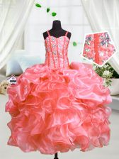 Watermelon Red Ball Gowns Spaghetti Straps Sleeveless Organza Floor Length Lace Up Beading and Ruffles Girls Pageant Dresses