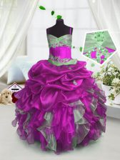 Spaghetti Straps Sleeveless Organza Little Girls Pageant Gowns Beading and Ruffles and Pick Ups Lace Up