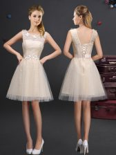 Scoop Mini Length Lace Up Dama Dress Champagne for Prom and Party and Wedding Party with Lace and Appliques and Belt