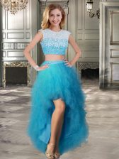 A-line Prom Evening Gown Teal Scoop Tulle Cap Sleeves High Low Lace Up