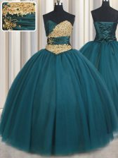 Sweetheart Sleeveless Lace Up Sweet 16 Dress Teal Tulle