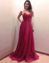 New Arrival Scoop A-line Sleeveless Burgundy Prom Party Dress Brush Train Side Zipper