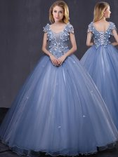 Suitable Scoop Lavender Ball Gowns Appliques Sweet 16 Dress Lace Up Tulle Short Sleeves Floor Length