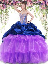 Most Popular Sleeveless Brush Train Lace Up With Train Beading and Ruffled Layers and Pick Ups Sweet 16 Dresses
