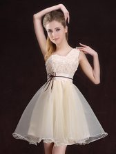 Elegant One Shoulder Sleeveless Appliques and Belt Lace Up Court Dresses for Sweet 16