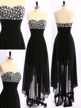Asymmetrical Zipper Prom Dresses Black for Prom and Party with Beading
