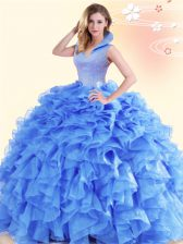 Backless High-neck Sleeveless Quinceanera Gowns Floor Length Beading and Ruffles Blue Organza