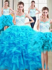 Four Piece Baby Blue Ball Gowns Straps Sleeveless Organza Floor Length Lace Up Beading and Ruffles Sweet 16 Dress