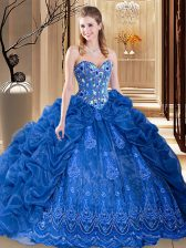 Royal Blue Ball Gowns Embroidery and Pick Ups 15 Quinceanera Dress Lace Up Organza Sleeveless