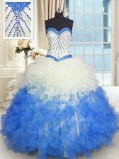 Blue And White Sleeveless Floor Length Beading and Ruffles Lace Up Sweet 16 Dresses